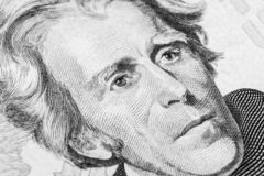 Close up view Portrait of Andrew Jackson on the one twenty dollar bill. Background of the money. 20 dollar bill with Andrew Jackso. N eyes macro shot. Money royalty free stock image