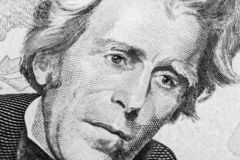 Close up view Portrait of Andrew Jackson on the one twenty dollar bill. Background of the money. 20 dollar bill with Andrew Jackso. N eyes macro shot. Money stock photo