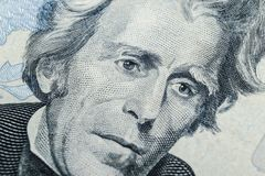 Close up view Portrait of Andrew Jackson on the one twenty dollar bill. Background of the money. 20 dollar bill with Andrew Jackso. N eyes macro shot. Money royalty free stock photos