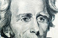 Close up view Portrait of Andrew Jackson on the one twenty dollar bill. Background of the money. 20 dollar bill with Andrew Jackso. N eyes macro shot. Money stock photos