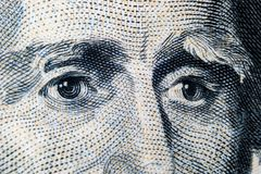 Close up view Portrait of Andrew Jackson on the one twenty dollar bill. Background of the money. 20 dollar bill with Andrew Jackso. N eyes macro shot. Money stock photography