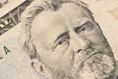 Close up view Portrait of Ulysses S. Grant on the one fifty dollar bill. Background of the money. Selective focus royalty free stock photos