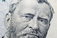 Close up view Portrait of Ulysses S. Grant on the one fifty dollar bill. Background of the money. 50 dollar bill with Ulysses S. G royalty free stock photos
