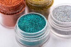 Close-up view of  powder eyeshadows  in different Royalty Free Stock Photos