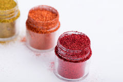 Close-up view of  powder eyeshadows  in different Stock Photography