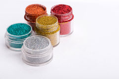 Close-up view of  powder eyeshadows  in different Stock Photos