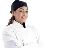Close up view of professional female chef Royalty Free Stock Images