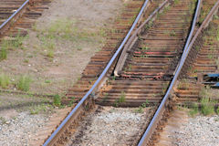 Close up view of railway with wooden sleepers Stock Image