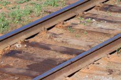 Close up view of railway with wooden sleepers Royalty Free Stock Photos