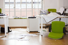 Close-up view of ransacked office Royalty Free Stock Image