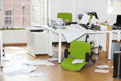 Close-up view of ransacked office Royalty Free Stock Photo