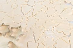 Close-up view of raw dough with various forms. For cookies royalty free stock image