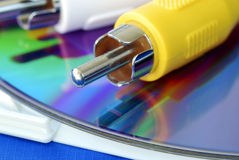Close-up view of the RCA video cable on a CD Royalty Free Stock Photos