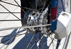 Close up view of rear bicycle wheel Stock Image