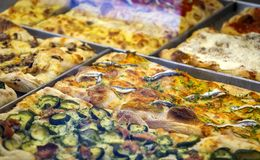 Close-up view of a rectangular pizza slice Royalty Free Stock Photo