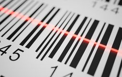 Close-up view on red laser is scanning label with barcode on product. 3D rendered illustration.  Royalty Free Stock Images