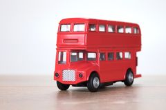 Close up view of a red London double decker bus Stock Images