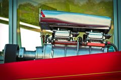 Close-up View of Red And Silver Engine Stock Images