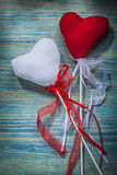 Close up view of red and white hearts on wooden background celeb Stock Photography