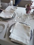 Restaurant setted table Stock Photo