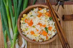 Close up view of rice with vegetables in asian style Royalty Free Stock Photography