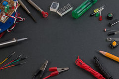 Close up view of robot kit consisting control boards, tools. Royalty Free Stock Photos