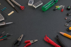Close up view of robot kit consisting control boards, tools. Royalty Free Stock Photography