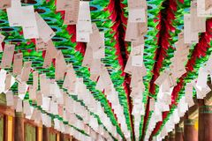 Close up view on a row of beautiful paper lanterns. The festival celebrate the birthday of Buddha in South Korea stock images