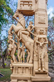 Close up view of sculptures of man playing a drum thavil in tamil, playing a Shehnai Nadaswaram in tamil, riding a horse, and Royalty Free Stock Images