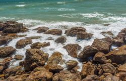Close up view of seascape with hard rocks and still waves, Kailashgiri, Visakhapatnam, Andhra Pradesh, March 05 2017 Royalty Free Stock Images