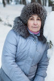 Close-up view of senior woman in winter clothes Stock Image