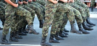 Serbian Army marches stock photography