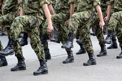 Serbian Army marches. Close up view on Serbian Army marches during parade stock photography