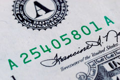 Close up view of the serial number of a bill Stock Photo