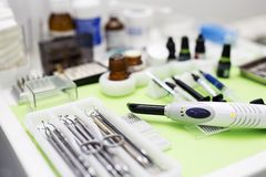 Close up  view at set of dentist tools. In modern dental office Stock Image