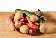 Close up view of set of fresh colorful vegetables. Healthy food concept. stock photo