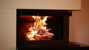 Close up view of set of nice view of burning wood in fire place.  stock footage