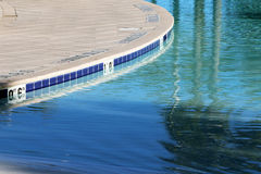 Close up view of a shallow pool and deck Stock Photos