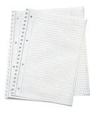 Close up view of  sheets of lined paper Stock Image