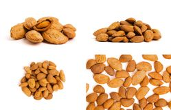 Macro view of shelled almond. Almonds in their shells. royalty free stock image