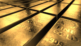 Close-up View Of Shiny Gold Bars Stacked Up In Perfect Rows Stock Photos