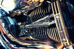 Close up view of a shiny motorcycle engine. Macro Royalty Free Stock Photography