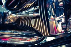 Close up view of a shiny motorcycle engine. Macro Stock Photos