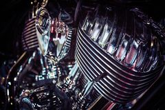 Close up view of a shiny motorcycle engine. Macro Stock Image