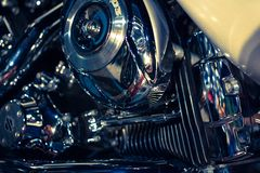Close up view of a shiny motorcycle engine. Macro Stock Photo