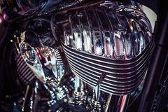 Close up view of a shiny motorcycle engine. Macro Stock Images