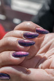 Close up view on shiny nails stock photo