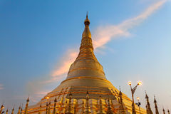 Close up view of Shwedagon Pagoda at twilight Royalty Free Stock Photo