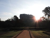 Close-up, view of Sigiriya lion mountain fortress in greenery, Sri Lanka, on a clear day.  royalty free stock images