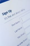 Close up view of sign up form Royalty Free Stock Photos